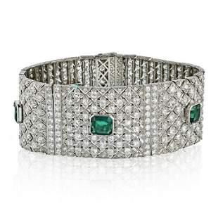 Art Deco diamond bracelet with synthetic emeralds