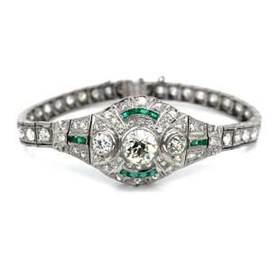 7.00 Ct Diamond And Emerald Art Deco Bracelet
