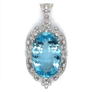 Prashnik Aquamarine And Diamond Pendant