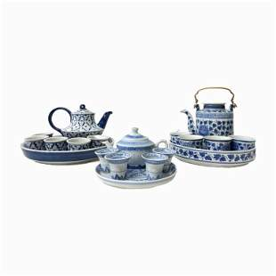 Lot of 3 Chinese Blue and White Porcelain Tea Sets