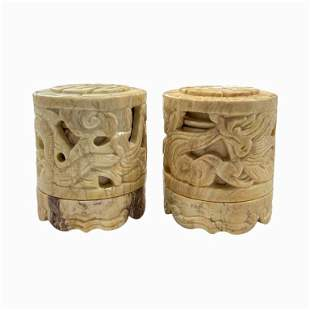 Pair of Chinese Carved Hard Stone Boxes