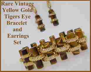 14k Gold Tigers Eye Bracelet and Earrings Set