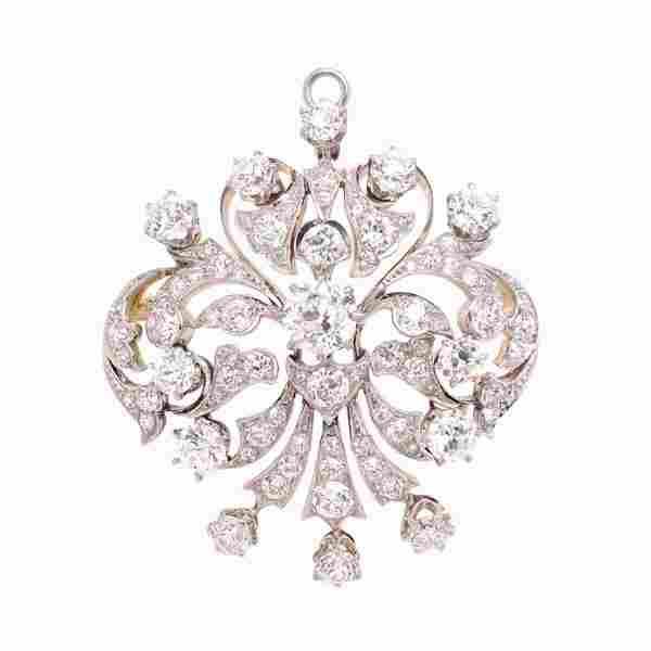 Antique 10ct Diamond Pendant