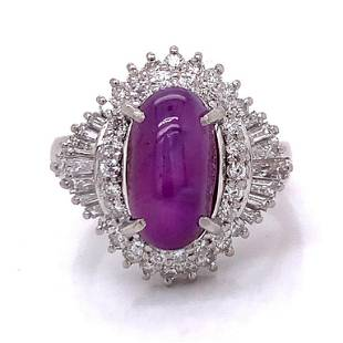 5.25 Ct Star Ruby & Diamond Ring