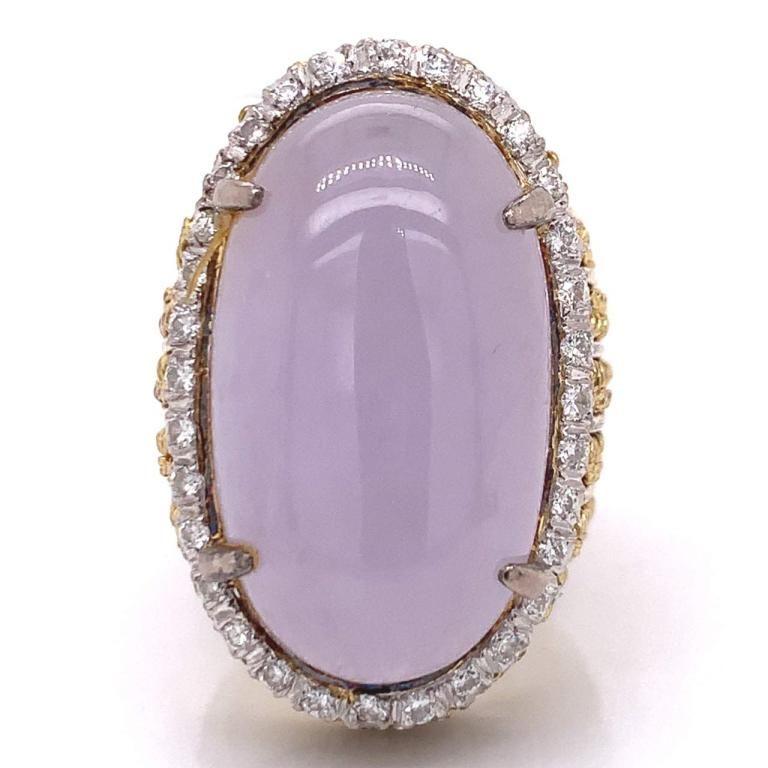 Lavender Jade And Diamond Cocktail Ring