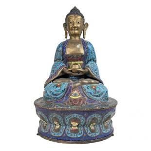 Chinese Cloisonne Quan Yin Sculpture