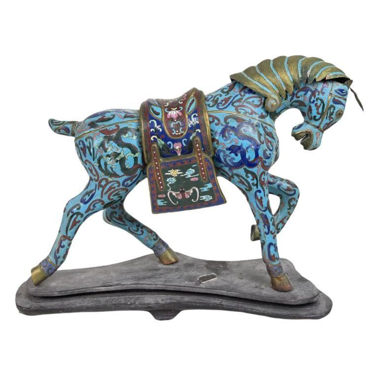 Chinese Cloisonne Horses Sculpture