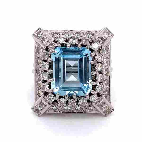 1950'S Aquamarine And Diamond Ring