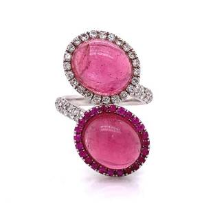 Diamond And Pink Tourmaline Ring