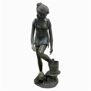 Large Bronze Sculpture, Woman Getting Water