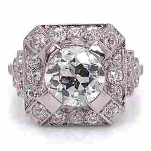 1.75 Ct Art Deco Diamond Engagement Ring