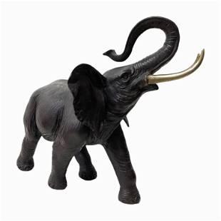 Bronze Elephant with Gilt Tusks