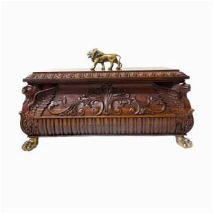 Carved Wood Box With Brass Lion Details