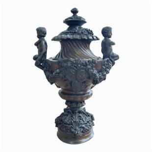 Antique Bronze Urn with Cherubs