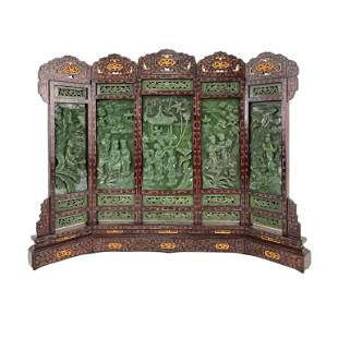 Incredible Chinese Carved Jade Table Screen