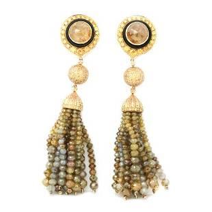 139.31 Ct. Natural Fancy Yellow Diamond Earrings