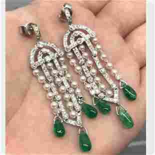 Emerald Diamond & Pearl Chandelier Earrings