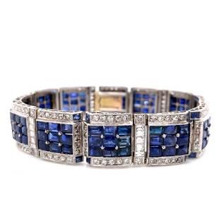 32 Ct French Sapphire Art Deco Bracelet