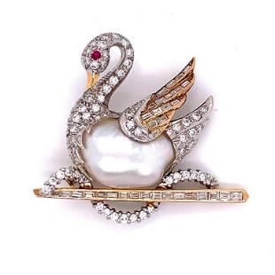 Diamond & Natural Pearl Swan Pin