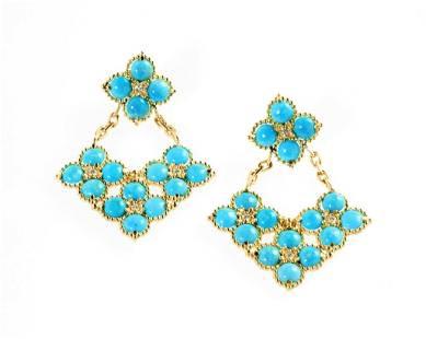 Sleeping Beauty Turquoise, Gold, Diamond Earrings