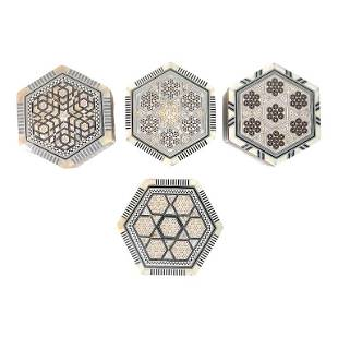 (4) Four Moroccan Inlaid Jewelry Boxes