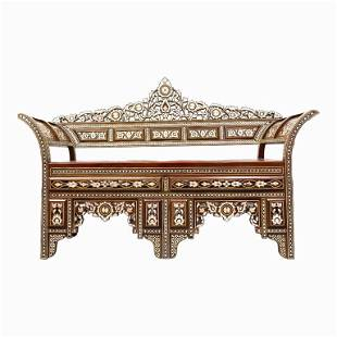 Vintage Moroccan Inlaid Carved Wood Bench