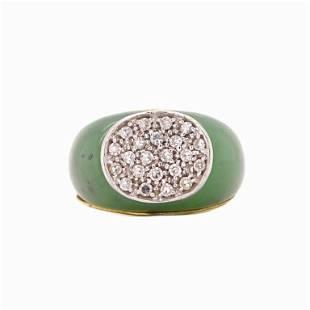 Jade And Diamond 18K Ring