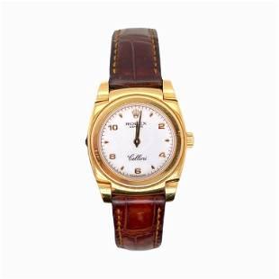 Women's White Dial Cellini 18K Yellow Gold Watch
