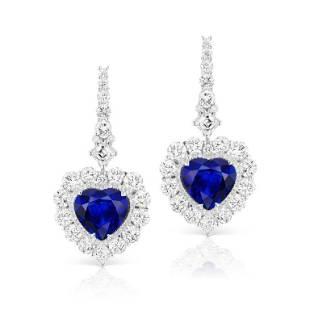 ROYAL BLUE SAPPHIRE AND DIAMOND EARRING