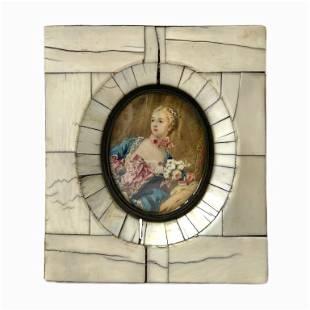 Antique Continental Miniature Ivory Portrait Oil
