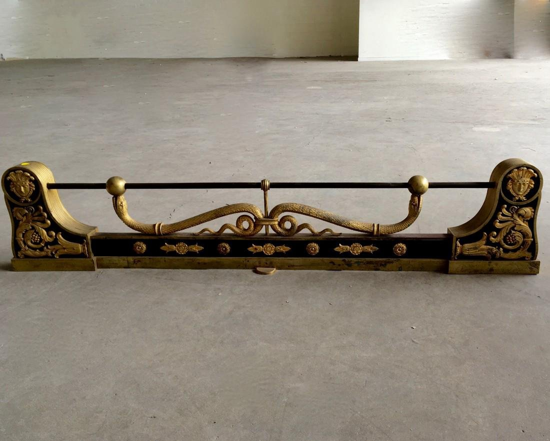 19th century Empire style fire fender with gilted