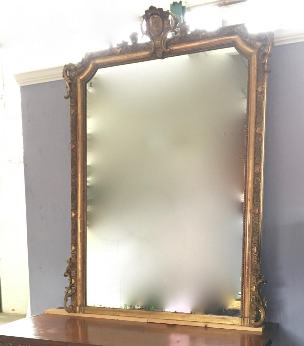 19th century LXVI style gold leaf mirror H69 ½''xL51''
