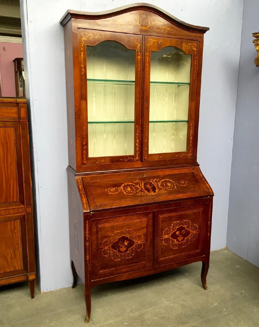 Fine inlay bureau with vitrine top Lots must be removed