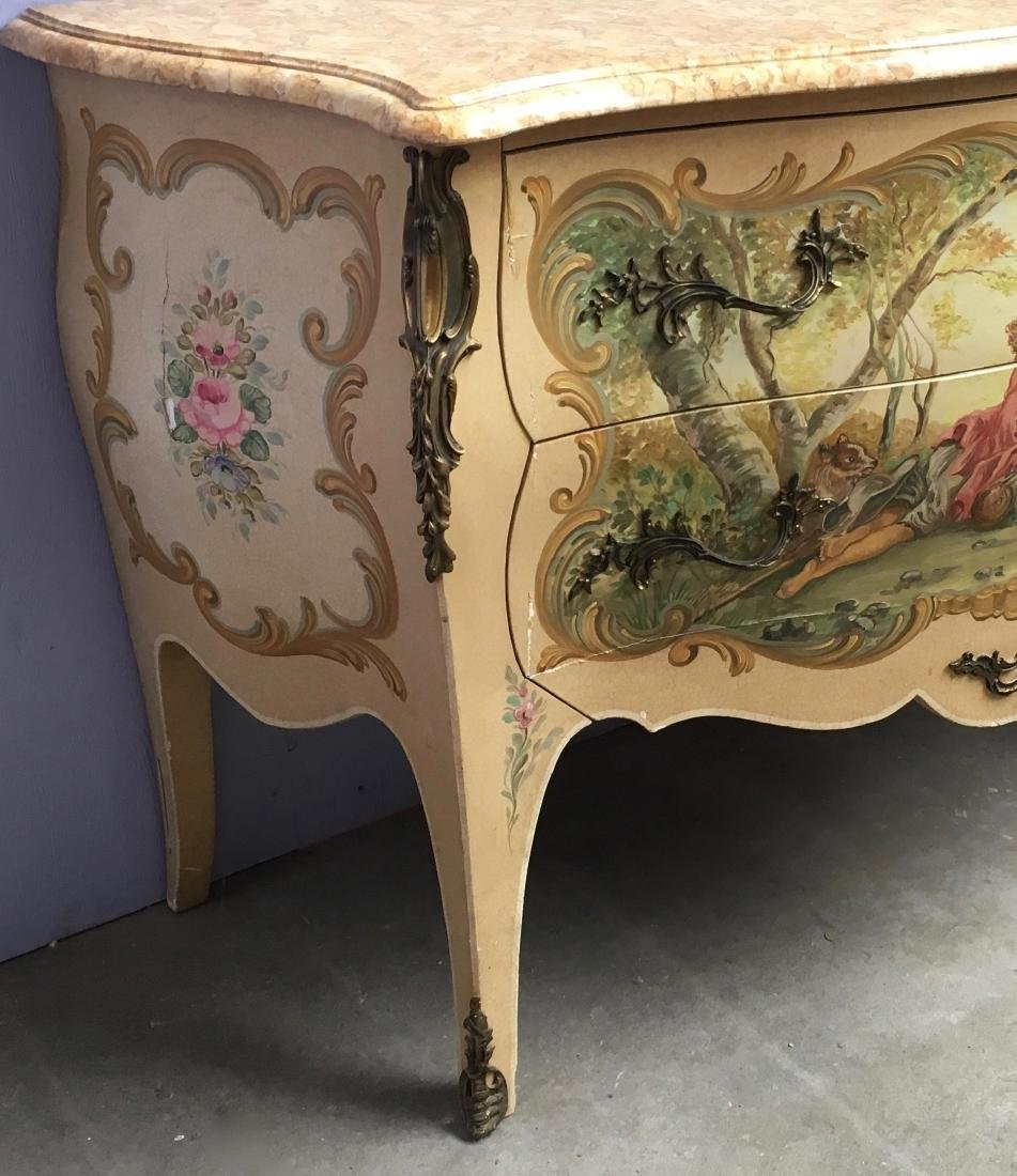 20th Century LXV style painted bombée commode with 2