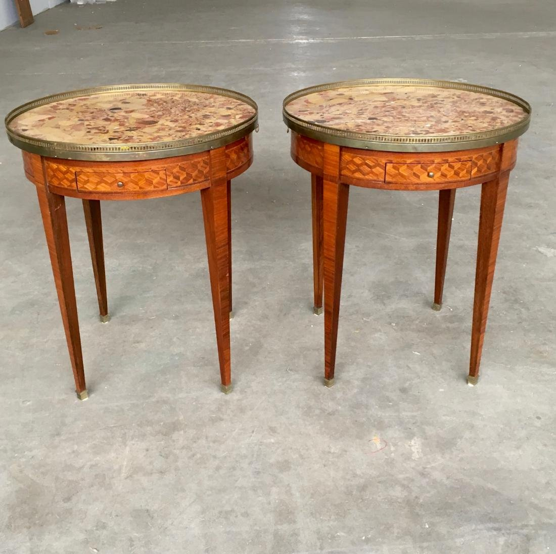Pair of 19th cent. LXVI style marble top bouillotte