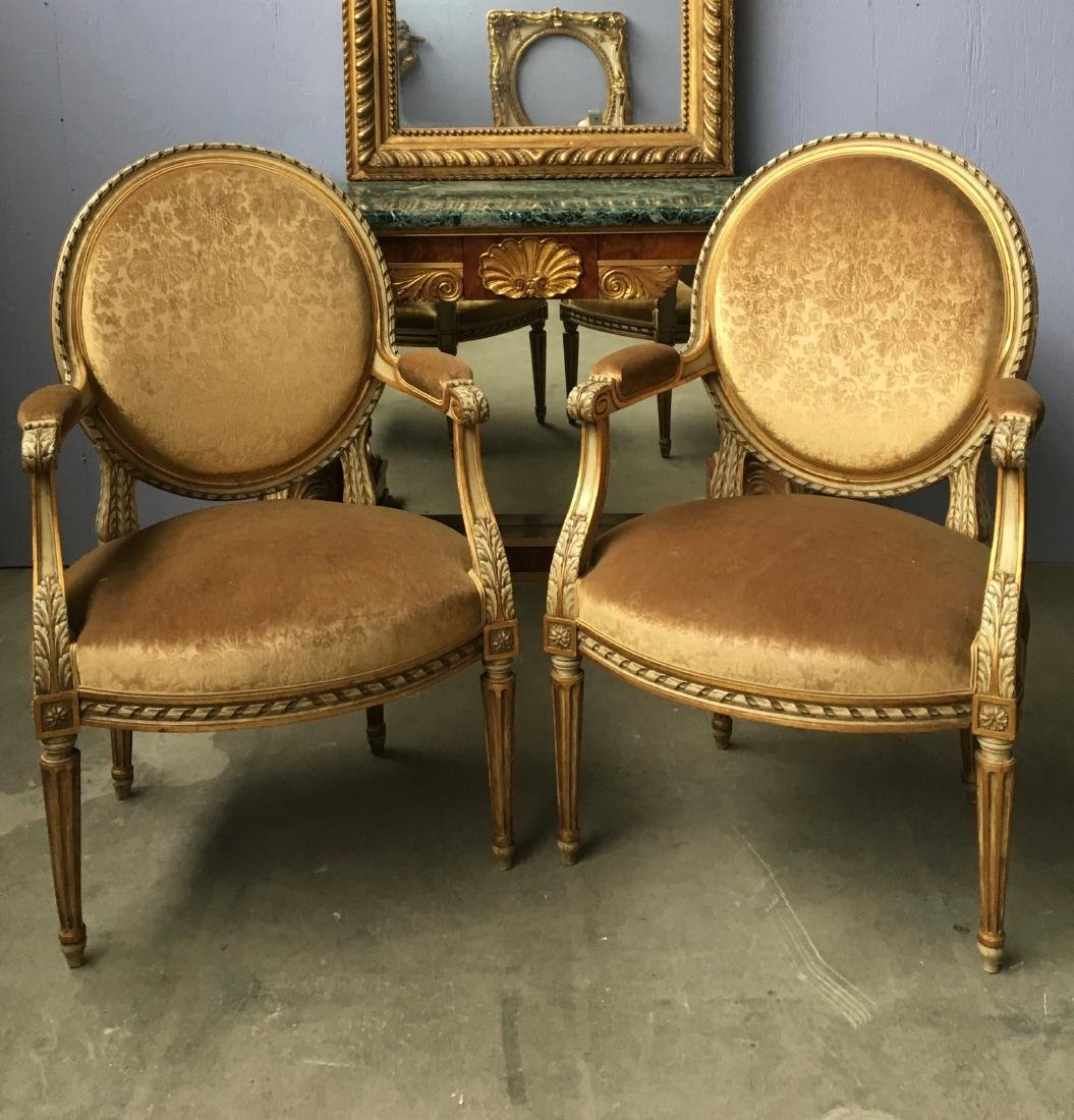 Pair of LXVI style medallion back painted armchairs