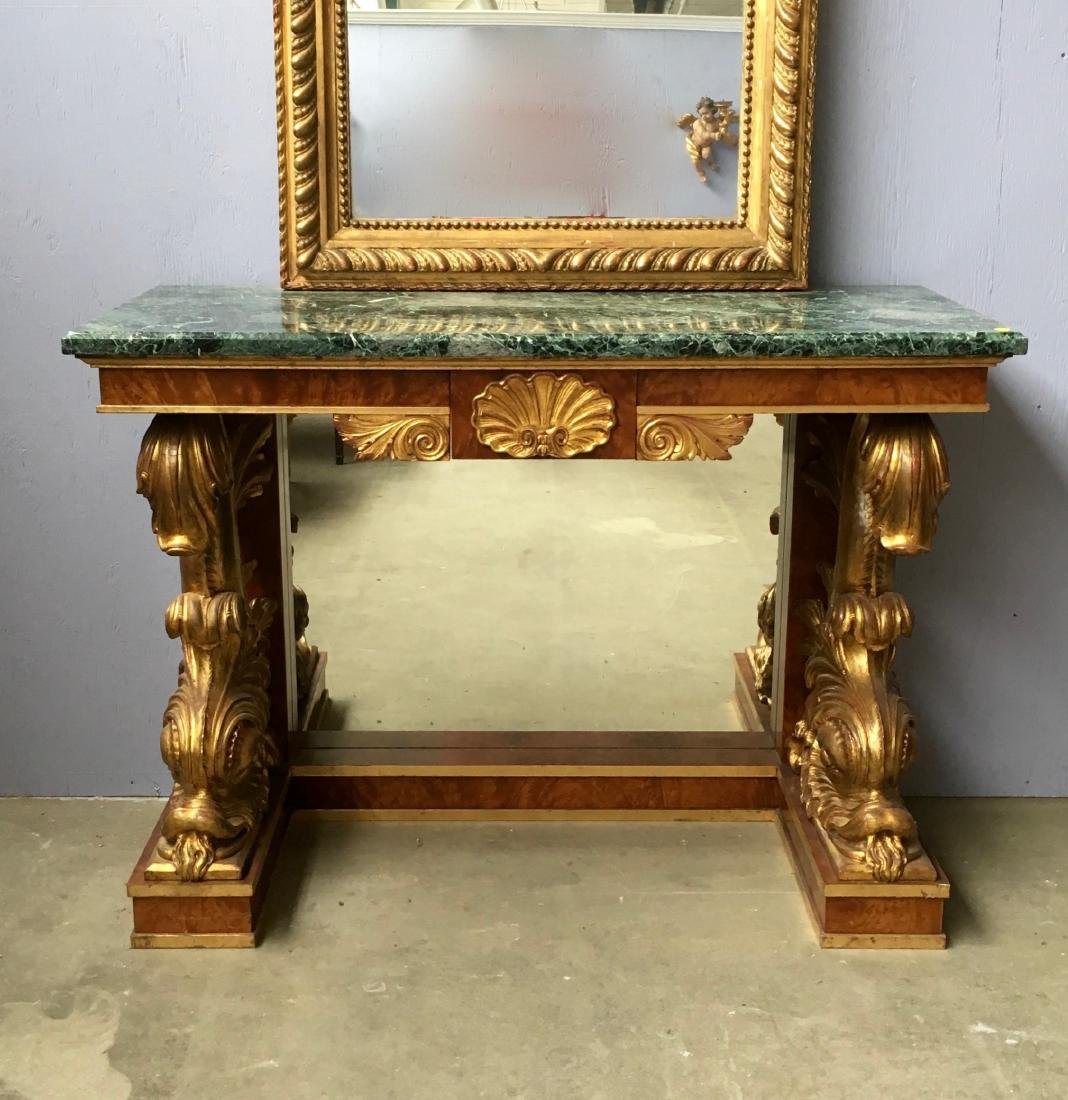 Marble top console table with flamed mahogany and gilt