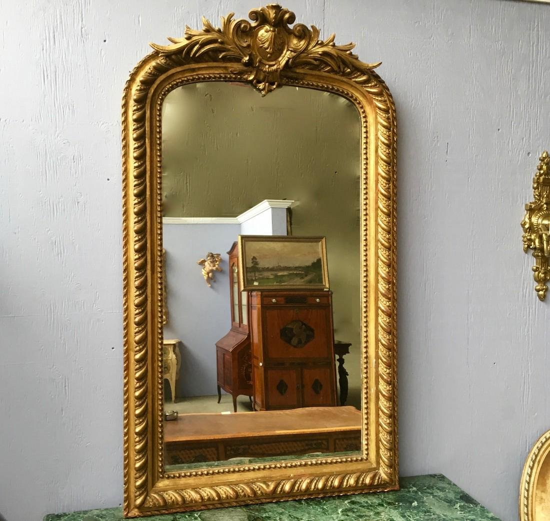 19th Nap III gilt mirror 55''x32'' Lots must be removed