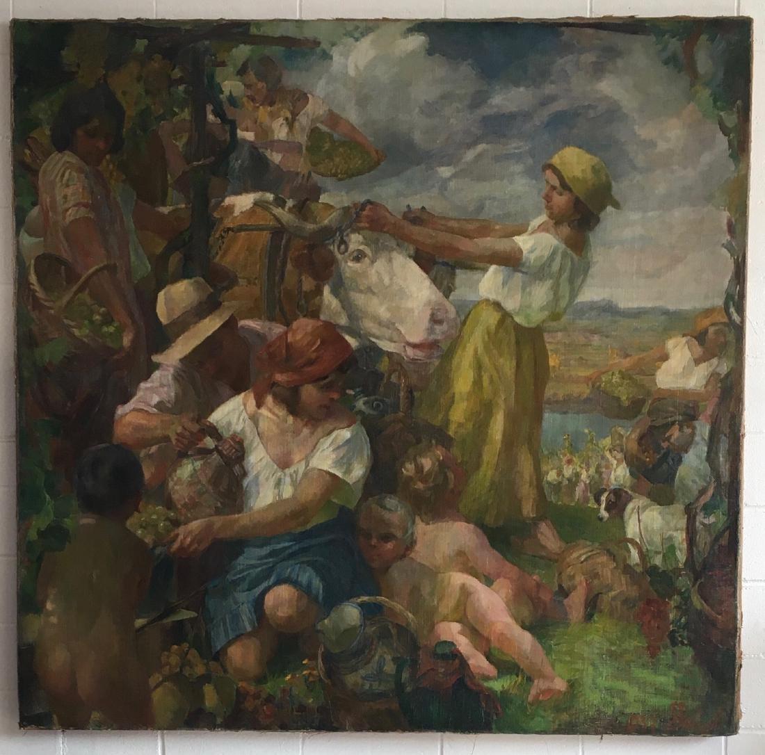 Painting on burlap «grape harvest» signed 1937 F.