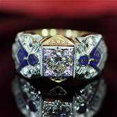 Gold Diamond Blue Lodge Masonic Ring