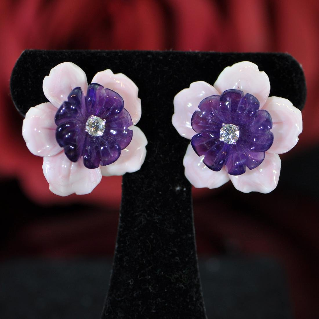 Carved Pink Coral and Amethyst and Diamond Earclips,