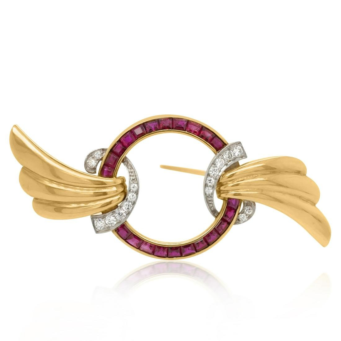 14K Gold, Platinum, Ruby  Diamond Brooch