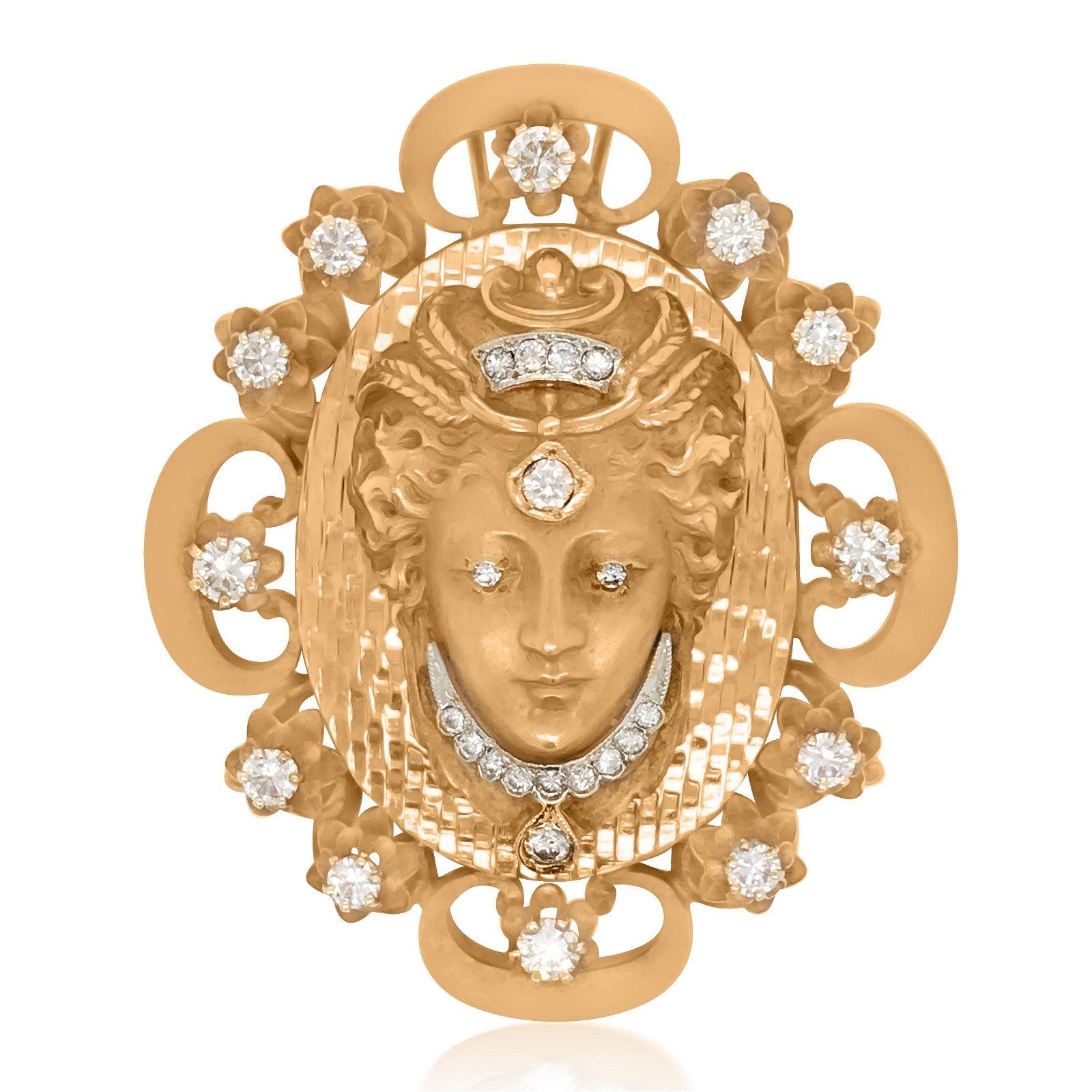 Art Nouveau 14K Gold  Godess Pendant Brooch