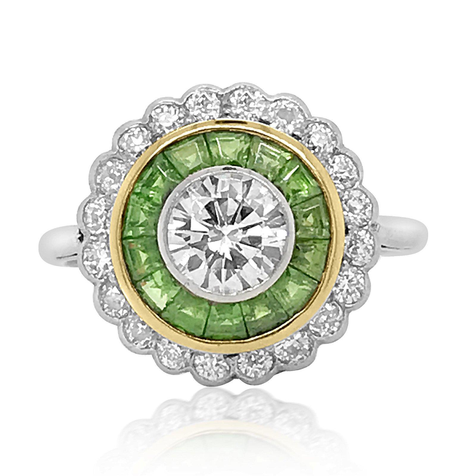Art Deco Platinum Demantoid Diamond Ring