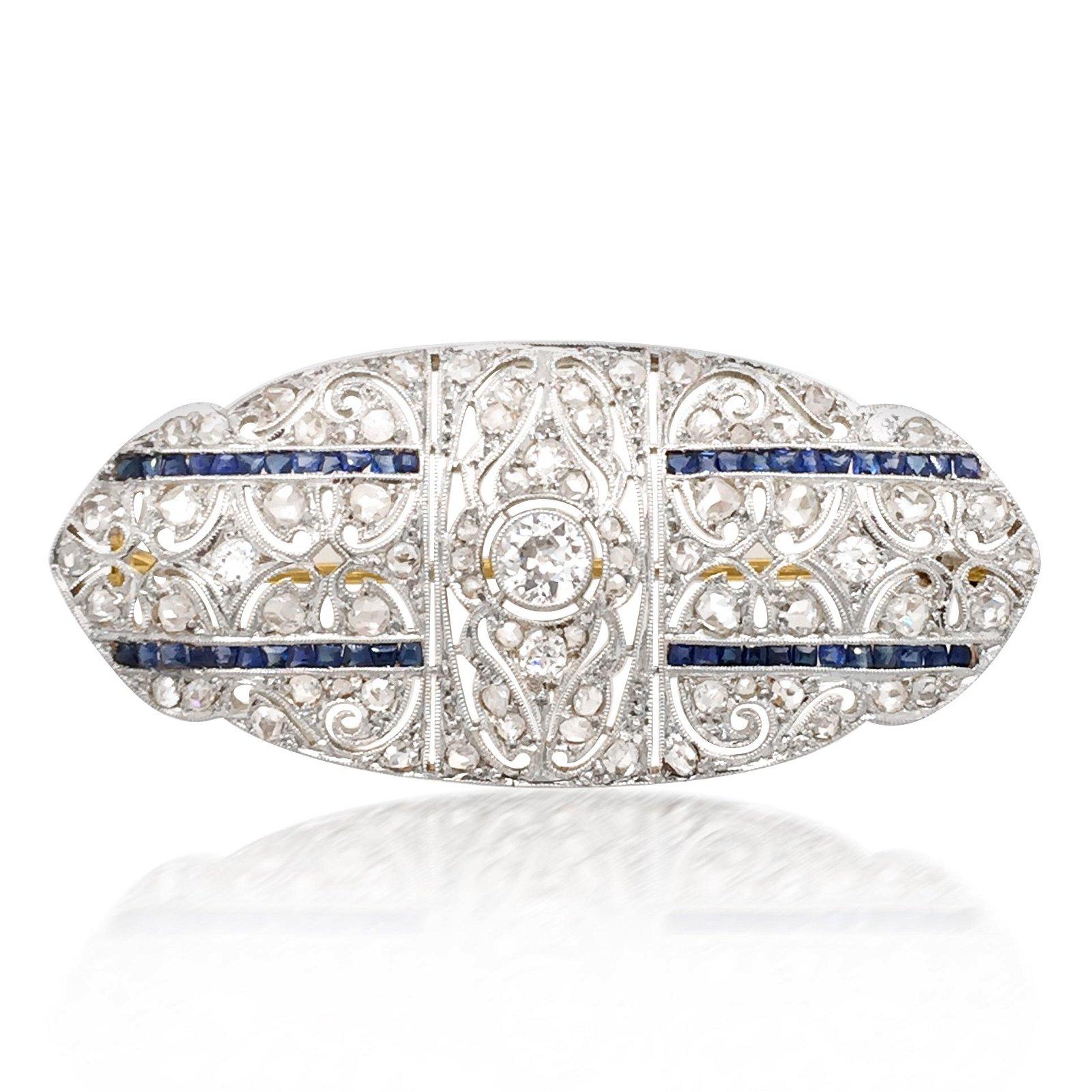 Art Deco Diamond Sapphire Brooch