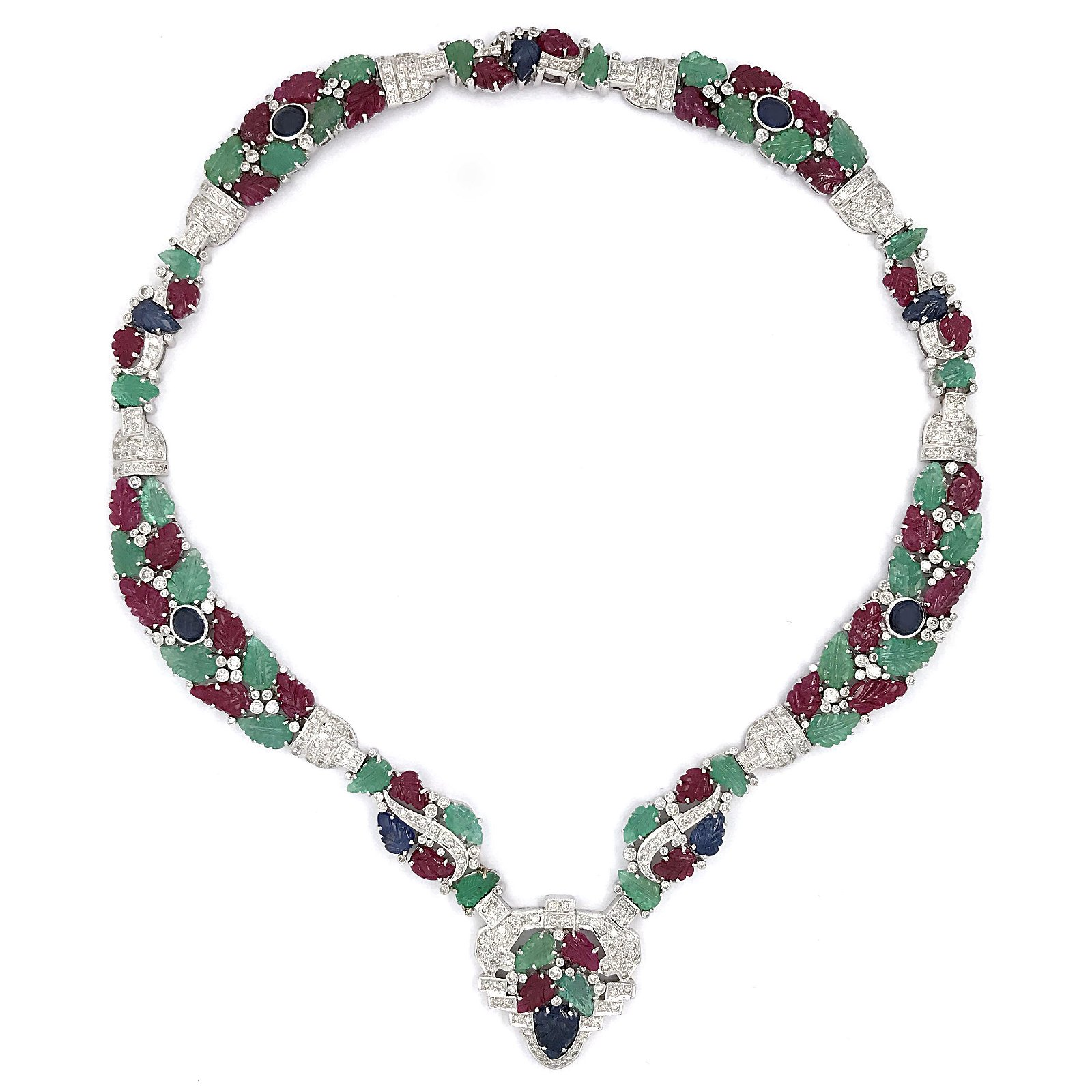 18K White Gold Tutti Frutti Diamond Necklace