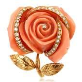 18K Gold Carved Coral Diamond Rose Clip-Brooch