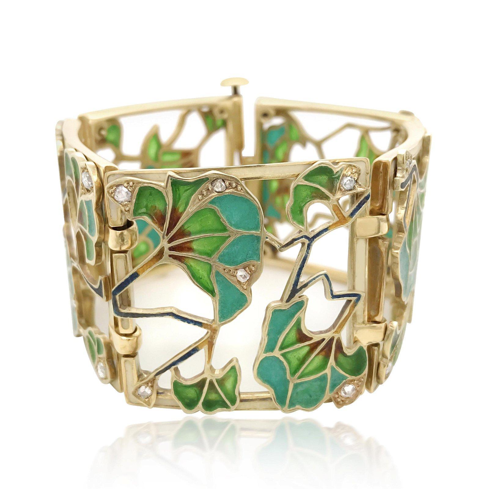 Art Nouveau 18K Gold Plique-a-Jour Enamel Bracelet