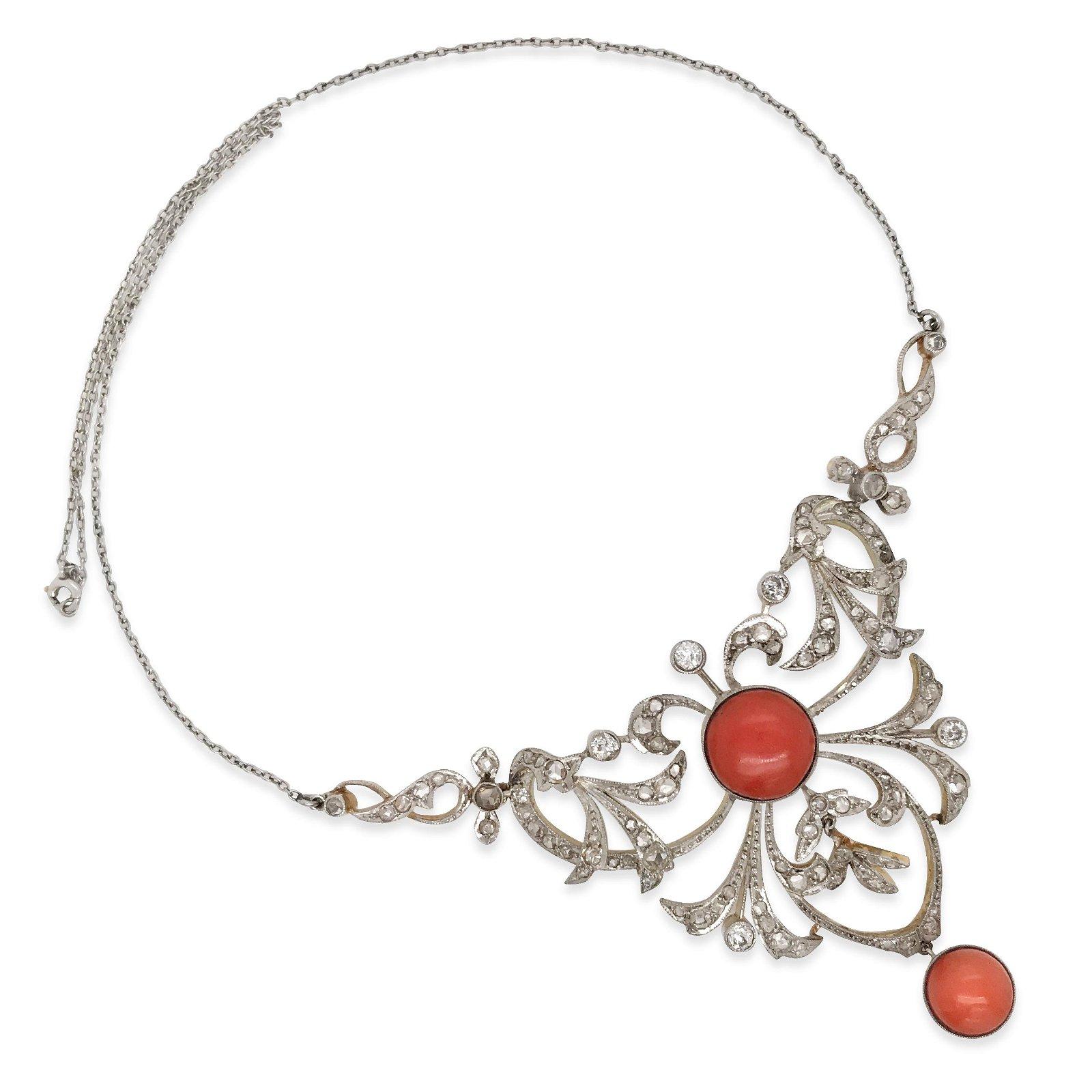 Silver Top Gold Antique Coral  Diamond Necklace