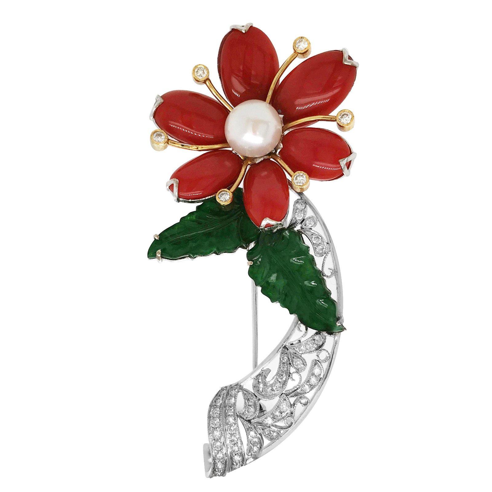 White Gold Coral Jade Pearl Diamond Flower Brooch